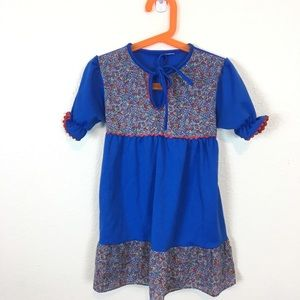 Vintage Girls Blue & Floral Print Dress  Sz 5/6